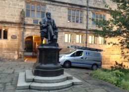 PP helping Mr Darwin with a refurb at Shrewsbury Library